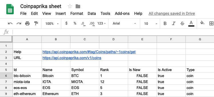 Import data van internet in Google Sheets